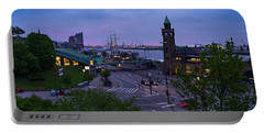 Dawn Over The Port And City Hamburg Panorama Portable Battery Charger