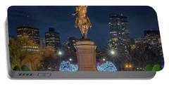 December Evening In Boston's Public Garden Portable Battery Charger
