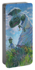 Portable Battery Charger featuring the digital art Dinosaur And Son With A Parasol  by Martin Davey