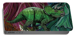 Dinosaur Triceratops Flowers Portable Battery Charger