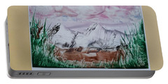 Distant Impressionistic Mountains Portable Battery Charger