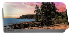 Distant View Of Otter Cliffs,acadia National Park,maine. Portable Battery Charger