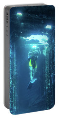 Diver In The Patris Shipwreck Portable Battery Charger