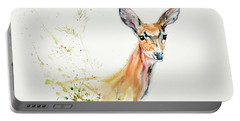 Portable Battery Charger featuring the painting Doe - 02 by Philip and Karen Rispin