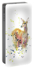 Portable Battery Charger featuring the painting Doe by Philip and Karen Rispin