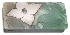 Dogwood Flower Stencil On Sandstone Portable Battery Charger