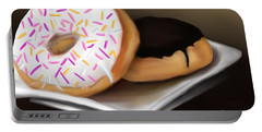 Portable Battery Charger featuring the painting Doughnut Life by Fe Jones