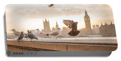 Doves And Seagulls Over The Thames In London Portable Battery Charger
