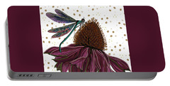 Dragon Fly And Echinacea Flower Portable Battery Charger