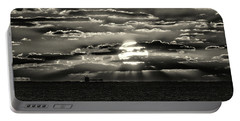 Portable Battery Charger featuring the photograph Dramatic Atlantic Sunrise With Ghost Freighter In Monochrome by Bill Swartwout Fine Art Photography