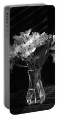 Dramatic Flowers-bw Portable Battery Charger