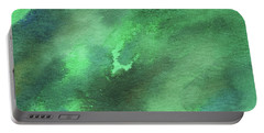 Dramatic Organic Green Abstract In Watercolor  Portable Battery Charger
