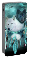 Dream Catcher - White Wolf Black Wolf Portable Battery Charger