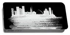 Dublin Skyline Brush Stroke White Portable Battery Charger