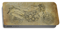 Ducati Monster 695d 2007 Original Drawing, Vintage Background Portable Battery Charger