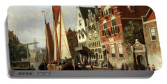 Dutch Canal Scene With Barge Unloading Portable Battery Charger