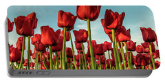 Portable Battery Charger featuring the photograph Dutch Red Tulip Field. by Anjo Ten Kate