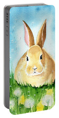 Easter Bunny With Dandelions Portable Battery Charger