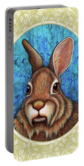 Eastern Cottontail Portrait - Cream Border Portable Battery Charger