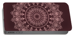 Portable Battery Charger featuring the digital art Elegant Rose Gold Mandala Burgundy Purple by Georgeta Blanaru