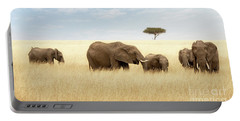 Elephant Group In The Grassland Of The Masai Mara Portable Battery Charger
