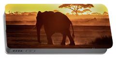 Elephant Walking Through Amboseli At Sunset Portable Battery Charger