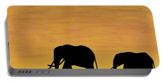 Elephants - At - Sunset Portable Battery Charger