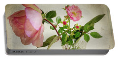 Portable Battery Charger featuring the digital art English Rose by Edmund Nagele