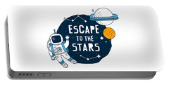 Escape To The Stars - Baby Room Nursery Art Poster Print Portable Battery Charger