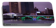 Evening View Of The Love River And Illuminated Bridge Portable Battery Charger