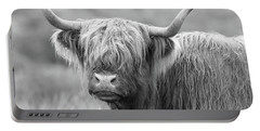 Face-to-face With A Highland Cow - Black And White Portable Battery Charger