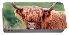 Face-to-face With A Highland Cow Portable Battery Charger