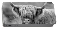 Face-to-face With A Highland Cow - Monochrome Portable Battery Charger