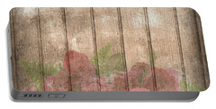 Faded Red Country Roses On Wood Portable Battery Charger