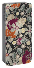 Fall Botanical Art Black Background Portable Battery Charger
