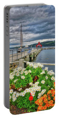 Portable Battery Charger featuring the photograph Fall Flowers At Seneca Lake Marina by Lynn Bauer