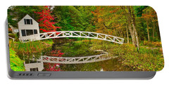 Portable Battery Charger featuring the photograph Fall Footbridge Reflection by Tom Gresham