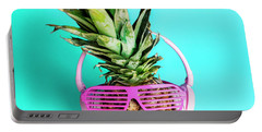 Fashionable Trendy Pineapple Fruit With Headphones And Sun Glass Portable Battery Charger