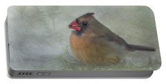 Female Cardinal With Seed Portable Battery Charger
