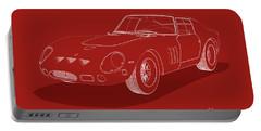 Ferrari 250 Gto - White Blueprint On Red Portable Battery Charger
