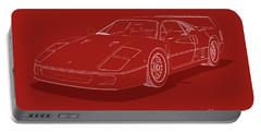 Ferrari F40 - White Blueprint On Red Portable Battery Charger