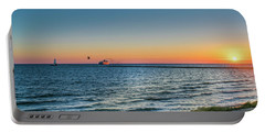 Ferry Going Into Sunset Portable Battery Charger