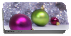 Portable Battery Charger featuring the photograph Festive Scene For Christmas With Xmas Balls And Lights In Backgr by Cristina Stefan