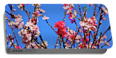 Field Of Flowers In Blue Sky Portable Battery Charger