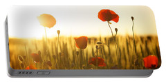 Field Of Poppies At Dawn Portable Battery Charger