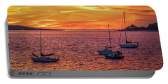 Fiery Sunrise Over Casco Bay Portable Battery Charger