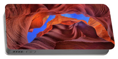 Portable Battery Charger featuring the photograph Fire Beneath The Sky In Antelope Canyon by Greg Norrell