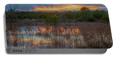 Fire In The Sky Over The Pines Portable Battery Charger