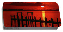 Fireball And Pier Sunrise Portable Battery Charger