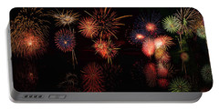 Portable Battery Charger featuring the digital art Fireworks Reflection Panorama by OLena Art Brand
